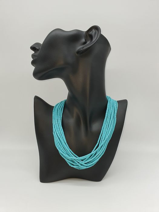 18 carats Or - Collier, foulard Turquoise