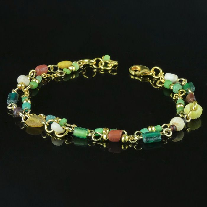 Ancient Roman Glass Bracelet with multicoloured glass beads - (1)