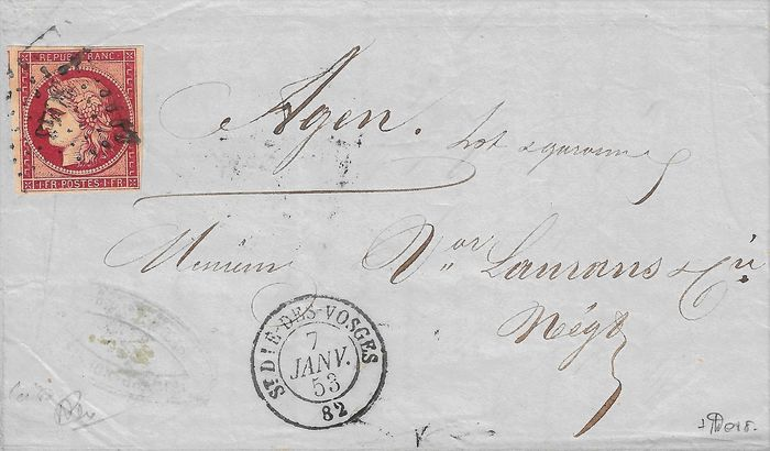 Frankrijk 1853 - Very rare Ceres 1 franc, exceptional cherry shade on letter - Yvert 6d
