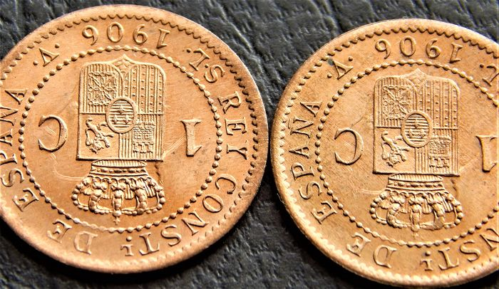 SPAIN ALFONSO XIII 1 CENTIMO 1906 AUNC//SC