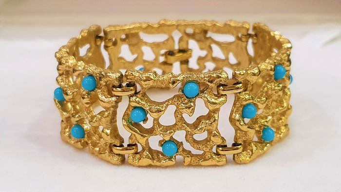 Rare GIVENCHY 18kt verguld - faux turquoise armband