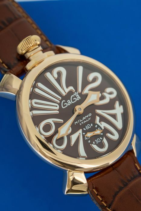 GaGà Milano - Mechanical Manuale 48MM Brown Rose Gold Brown Leather strap Swiss Made - 5011.01 - Unisex - Brand New