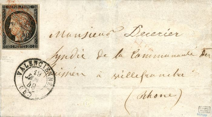 Frankreich 1849 - Very rare Ceres 20 centimes black, red grid postmark on letter - Yvert 3