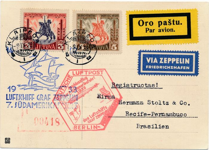 Lithuania 1933 - Zeppelin post - 7th South America flight, connecting flight from Berlin, delivery post Lithuania geflogen nach Brasilien mit Ankunftsstempel, Michel 337a