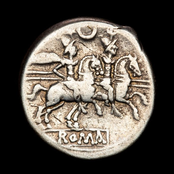 République romaine - AR Denarius, Anonymous (206-195 B.C.) - The Dioscuri on horseback right. Crescent series - Argent