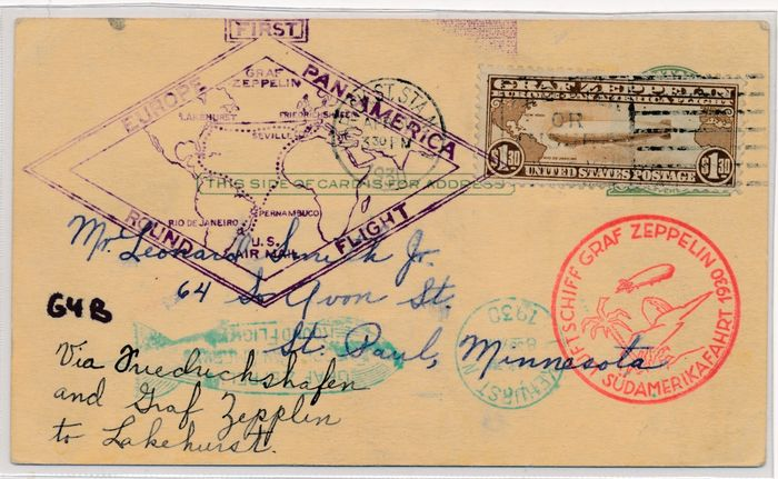 United States of America 1930 - Zeppelin post - South America flight, American Mail, $1.30 on zeppelin card