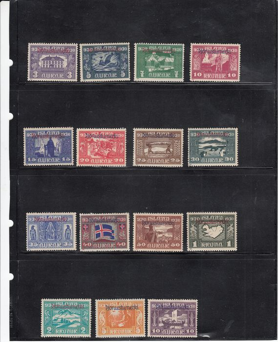 """Islândia 1930 - Iceland 1930 - official """"Parliament"""" stamps with overprint - Michel 44/58 - Michel dal  44 al 58"""