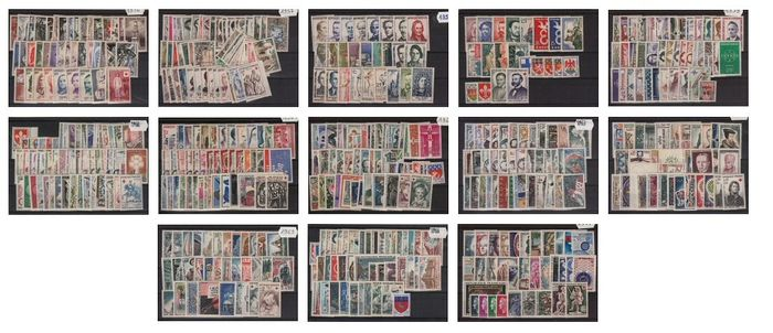 Frankreich 1956/1967 - Collection of 12 full years - Yvert n° 1050/1541