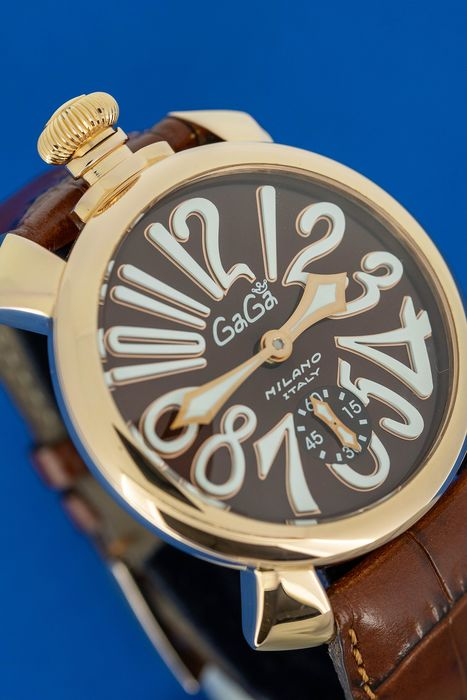GaGà Milano - Mechanical Manuale 48MM Brown Rose Gold Brown Leather strap Swiss Made - 5011.01 - Unisexe - Brand New