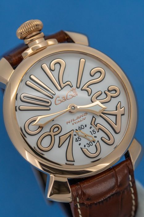 GaGà Milano - Mechanical Manuale 48MM Brown Rose Gold Brown Leather strap Swiss Made - 5011.11S - Homme - Brand New
