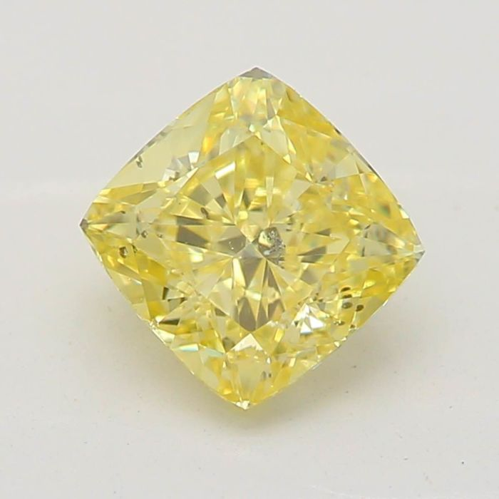 1 pcs Diamond - 0.56 ct - Cushion - fancy yellow - SI2