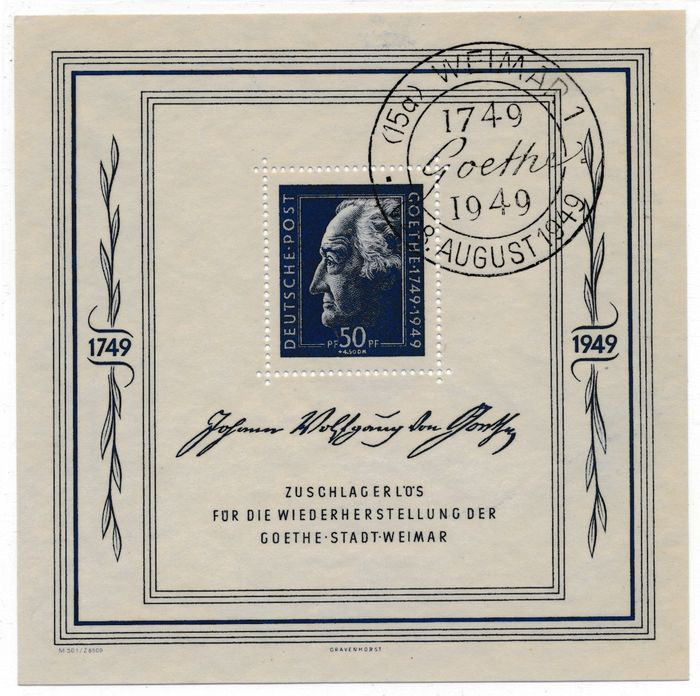 """Allied Occupation - Germany (Soviet zone) 1949 - Goethe Festival Weeks, block issue with commemorative postmark """"Weimar"""" - Michel Nr. 6"""
