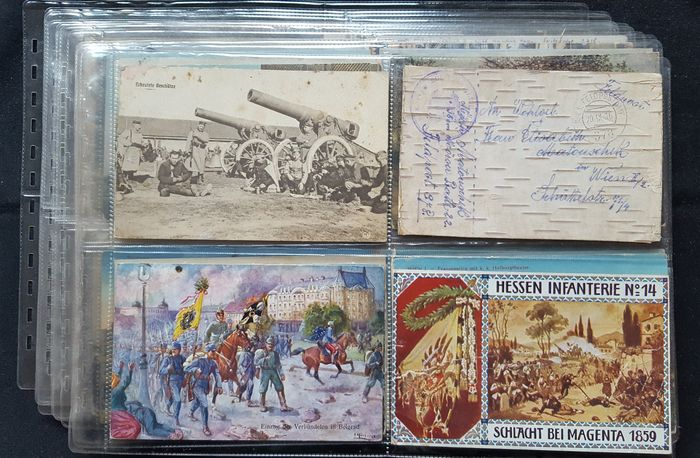 45 Post cards of old Austria , Austro-Hungarian period , K.K. / K.u.K. 1908 - 1919 , Military Mail in WW1 .