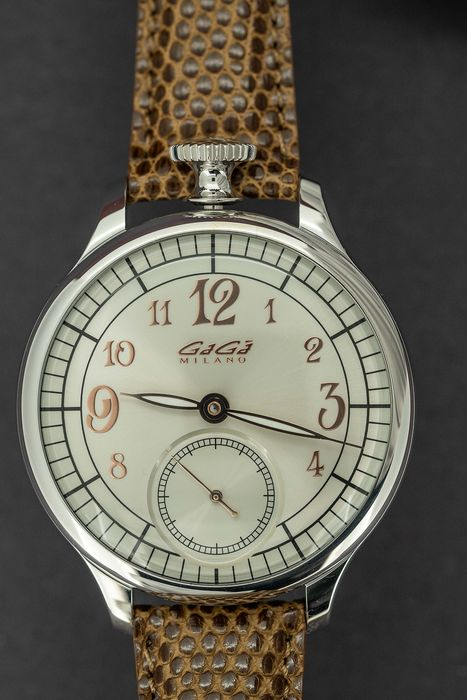 GaGà Milano - Mechanical Watch 925 Silver 47MM Limited Edition Brown Leather Strap - 7040.01 - Homem - Brand New