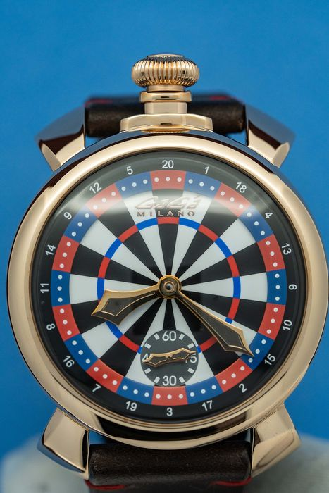 GaGà Milano - Mechanical Manuale 48MM Darts Las Vegas LIMITED EDITION Swiss Made Brown Leather strap - 5011.LV03 - Unisex - BRAND NEW