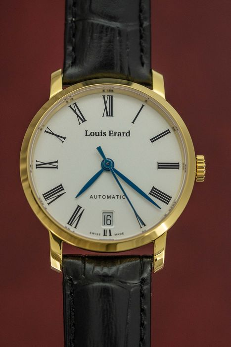Louis Erard - Automatic Excellence Collection Yellow Gold tone Case Black Leather strap Swiss Made - 68235PJ01.BAJC62 - Femme - BRAND NEW