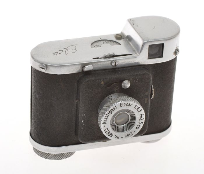 ELOP (Germany) early Elca, small and rare 35mm compact camera with 3.5cm F:4.5 Elocar, exc++ C.1947/48