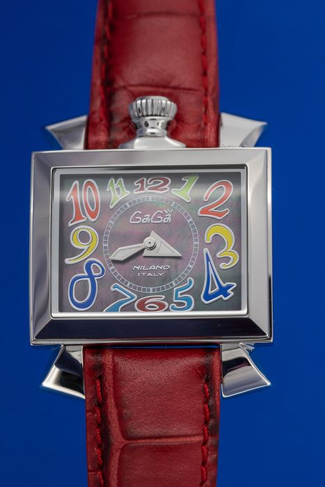 GaGà Milano - Watch Napoleone Black Mother of Pearl Dial Red Leather Strap - 6030.2 - Femme - Brand New