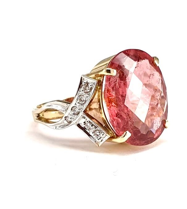 14 carats Or - Bague - 8.68 ct Tourmaline - Diamant