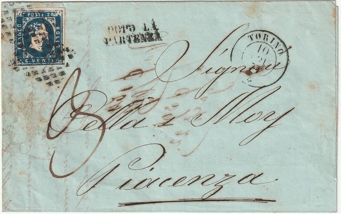 Sardinië 1851 - 20 cents light blue 1st issue from Turin to Piacenza, pre-convention rate, taxed 30 c. - Sassone N. 2a
