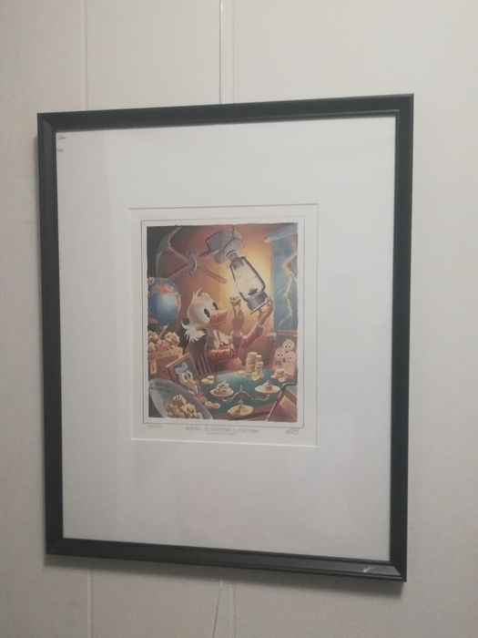 Framed and matted Carl Barks lithograph - Hand-initialled by Barks - Among His Souvenirs - Primeira edição - (1986)