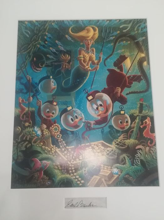 Carl Barks, matted print with signature insert - The Makings of a Fish Story - Autre