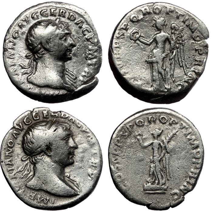 Empire romain - Two AR denarii Trajan (AD 98-117) - Victory (RIC 128) & Victory (RIC 129) - Argent