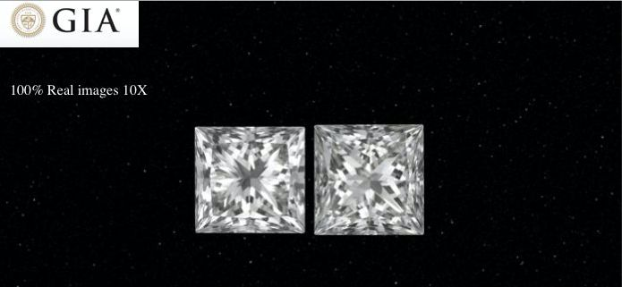 2 pcs Diamantes - 1.43 ct - Princesa - E - VS1
