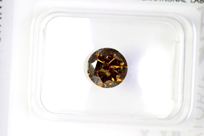 Diamante - 1.04 ct - Brilhante - I2 - Fancy Deep Yellowish Brown - * NO RESERVE PRICE *