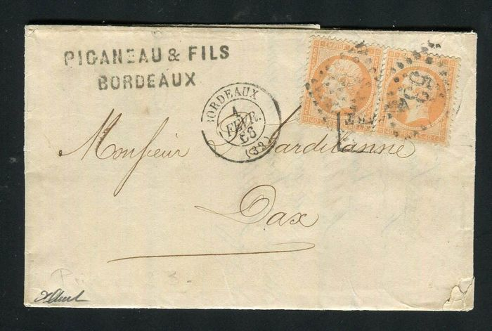 França 1866 - Rare letter from Bordeaux with triple postage with a pair of No. 23 stamps