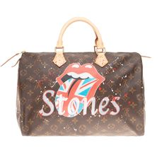 "Louis Vuitton - BRAND NEW -Sac Speedy 35 en toile Monogram customisé ""Rolling Stones,1962"" par PatBo Handtas"