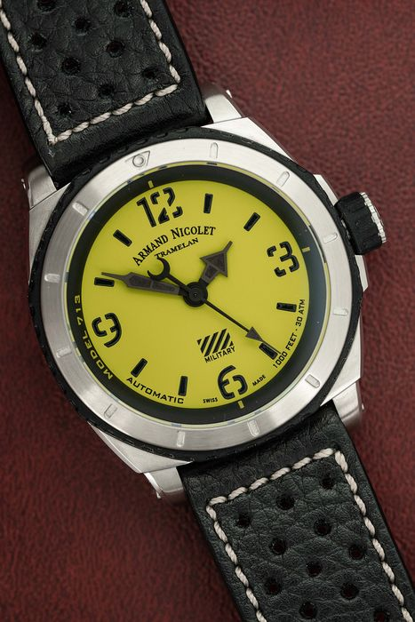 "Armand Nicolet - Automatic SH3 Diver Yellow Military Black Leather Strap Swiss Made - A713PGN-VN-P160NR ""NO RESERVE PRICE"" - Hombre - Brand New"