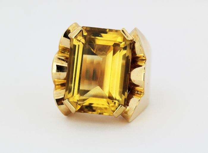 French - 18 quilates Oro amarillo - Anillo - 20.00 ct Citrino