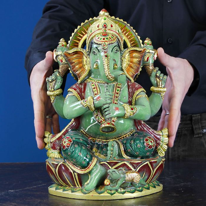Aventurine Statue Ganesh carved and painted by hand - 310×200×150 mm - 11000 g