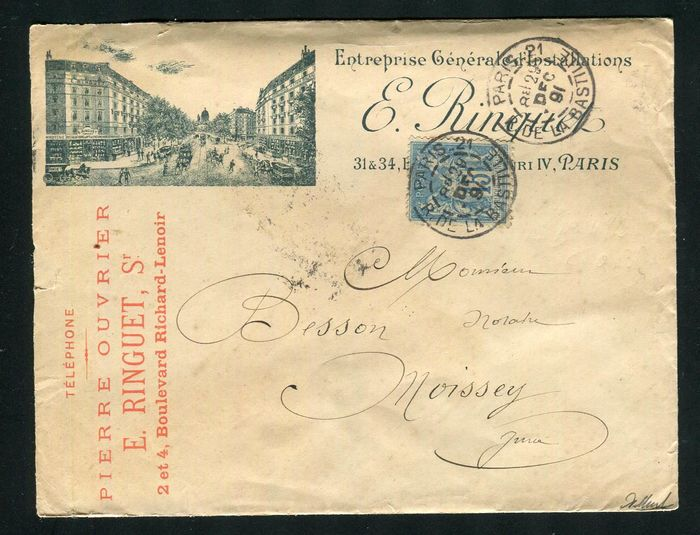 França 1891 - Rare illustrated letter from Paris bound for Moissey with a No. 90 stamp