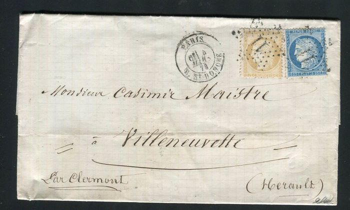 França 1873 - Superb letter with double postage from Paris bound for Villenevette with the No. 59 & 60 stamps