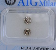 2 pcs Diamant - 0.76 ct - Rond - fancy light pinkish brown - SI1, SI2, No Reserve Price!
