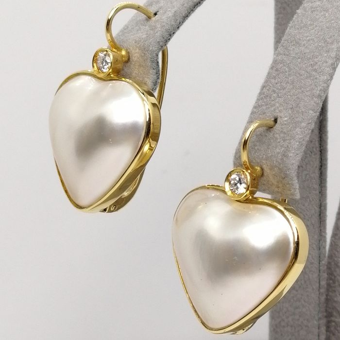 18 kt. Gold - Earrings pearl mabe at heart - Diamonds