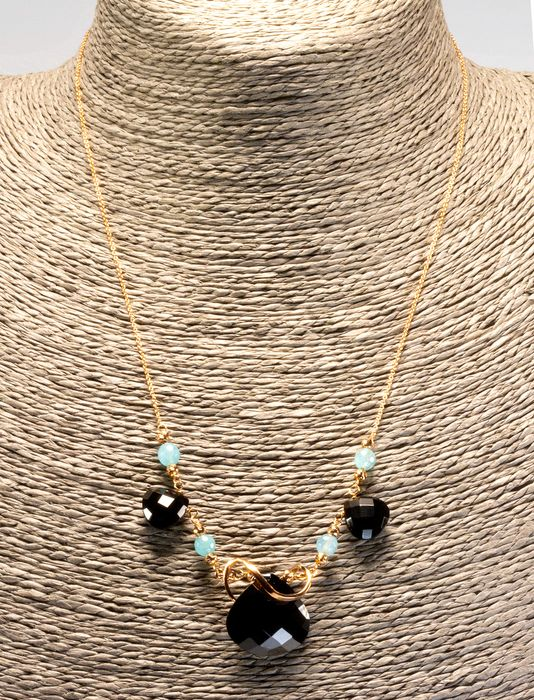 18 carats Or rose - Collier - Aigue-marine, onyx