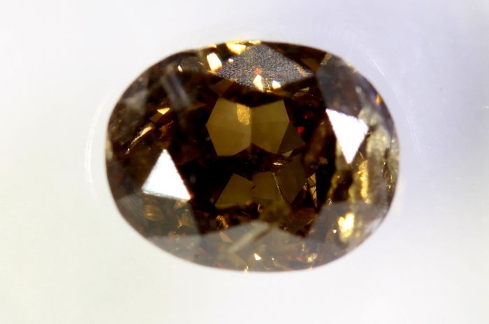 Diamante - 1.14 ct - Oval - I1,  - Fancy Deep Yellowish Brown - * NO RESERVE PRICE *