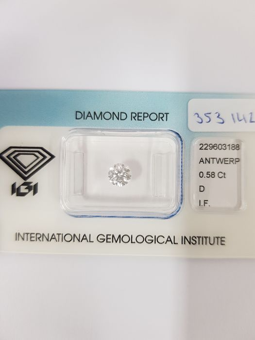 "1 pcs Diamante - 0.58 ct - Brilhante - D (incolor) - I.F   ""IDEAL CUT ROUND BRILLIANT""  PERFECT DIAMOND"