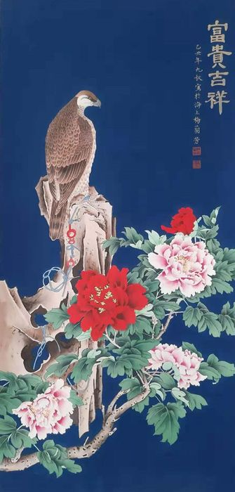 Ink painting - Rice paper - 《梅兰芳-富贵吉祥》 BIRD AND FLOWER Made after Mei LanFang. - China - Second half 20th century