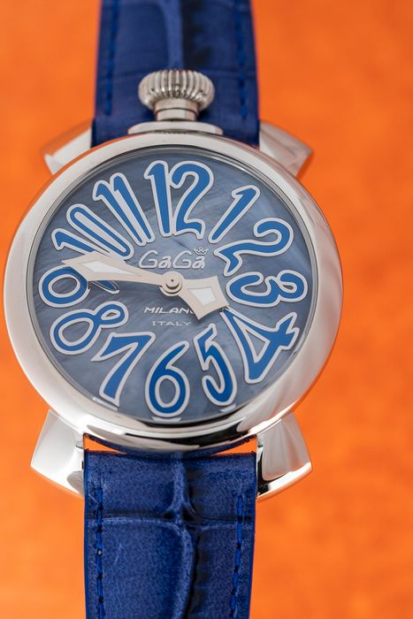 GaGà Milano - Watch Manuale 40mm Mother of Pearl Dial Blue Leather Strap - 5020 - Femme - BRAND NEW