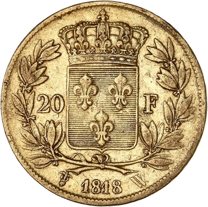 20 Francs 1818-W Louis XVIII - Or