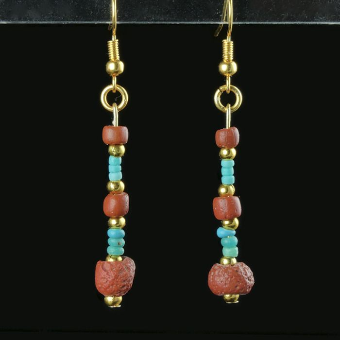 Ancient Roman Glass Earrings with turquoise and red glass beads
