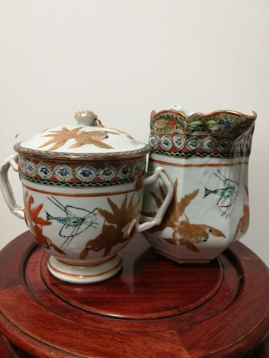 Aguamanil, Tarros (2) - Famille rose - Porcelana - Pez - Pot with lid AND a jug with matching decoration / GOLDFISH - China - Principios del siglo XX