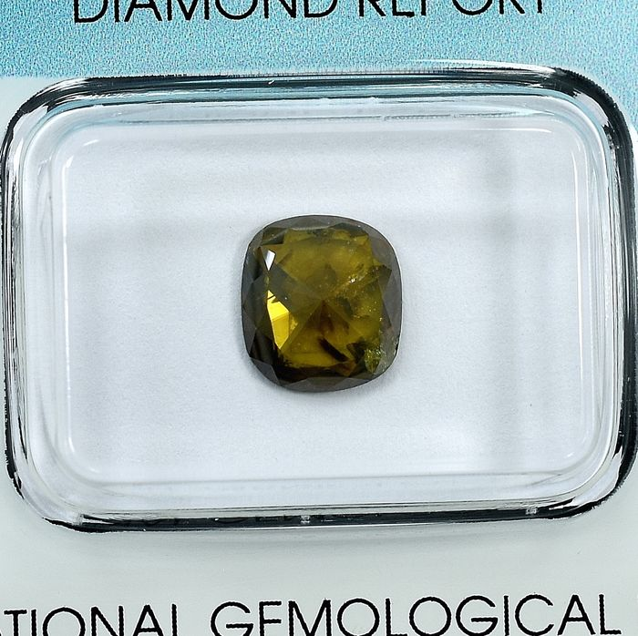 Diamant - 1.46 ct - Coussin - Natural Fancy Deep Yellowish Brown - I2 - NO RESERVE PRICE