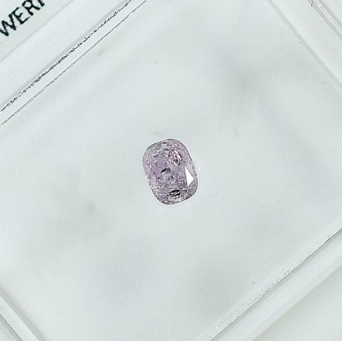 Diamant - 0.11 ct - Coussin - Natural Fancy Purplish Pink - I1 - NO RESERVE PRICE