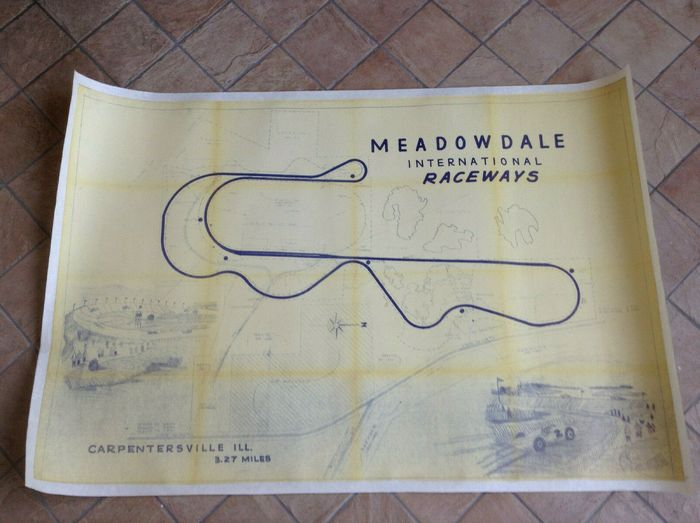 Poster - very rare USA Race Track Poster Map  - very rare 1958 original SCCA Meadowdale Illinois Racing Track Map Poster Lotus Porsche USAC - 1958