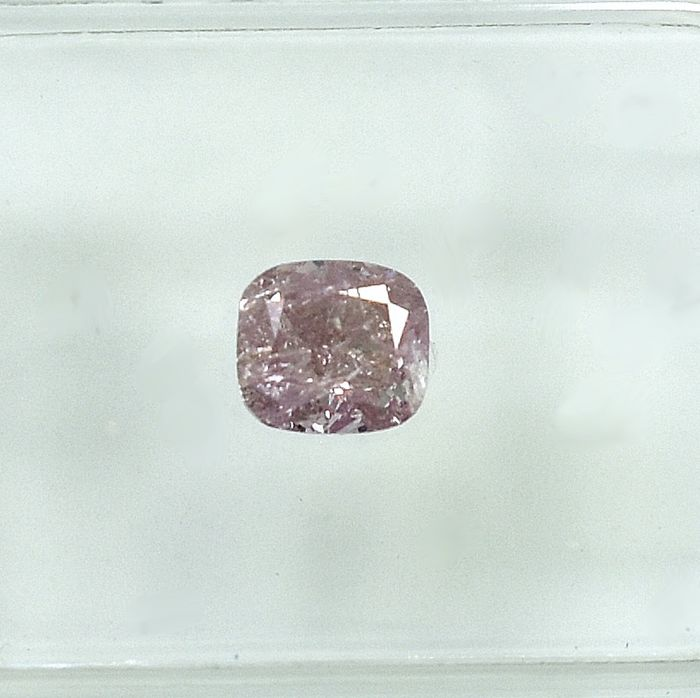 Diamant - 0.51 ct - Coussin - Natural Fancy Purplish Pink - I2 - NO RESERVE PRICE